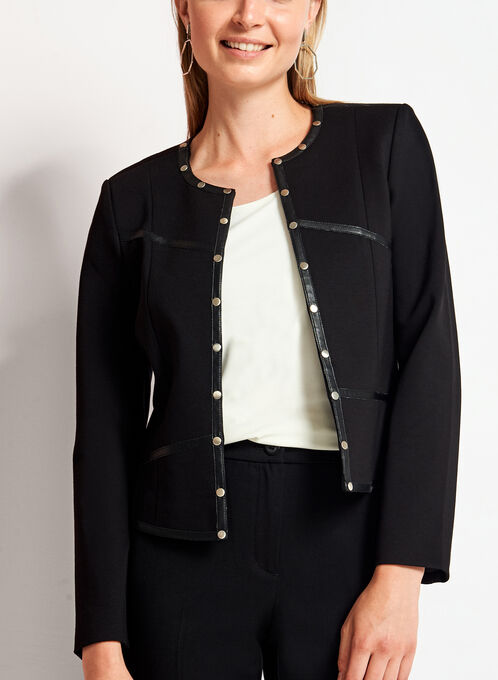 Faux Leather Studded Ponte Blazer, Black, hi-res
