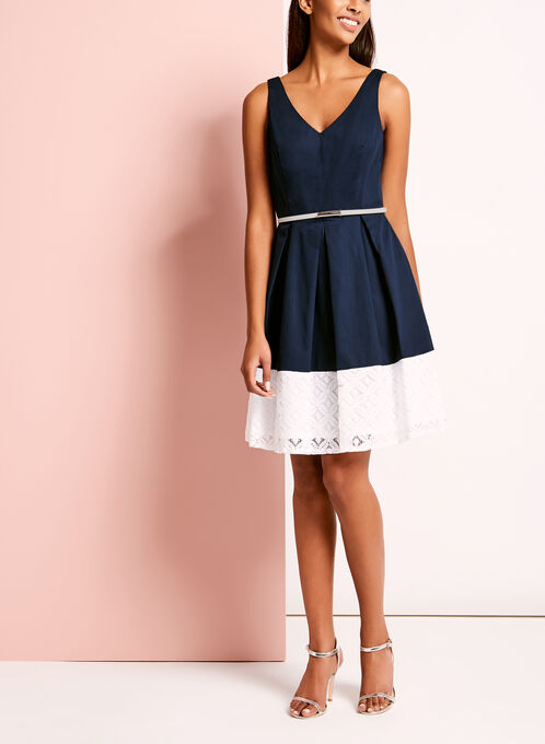 Colour Block Sateen Lace Dress, Blue, hi-res
