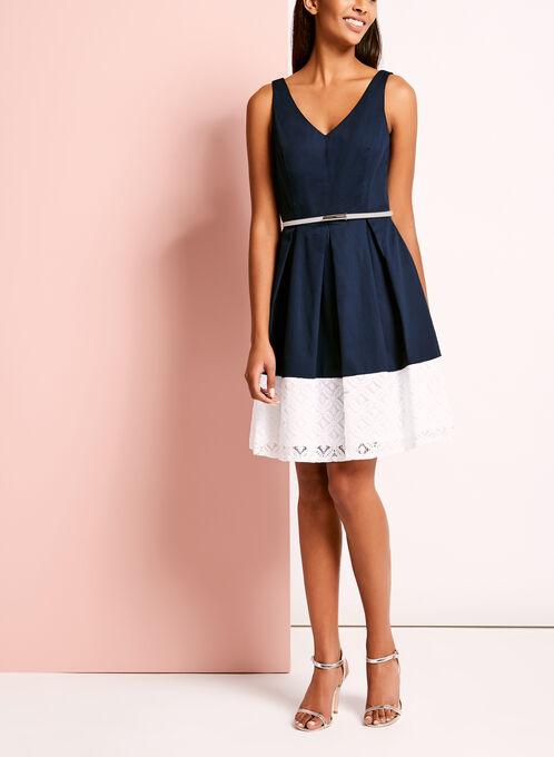 Colour Block Cotton Lace Dress, Blue, hi-res