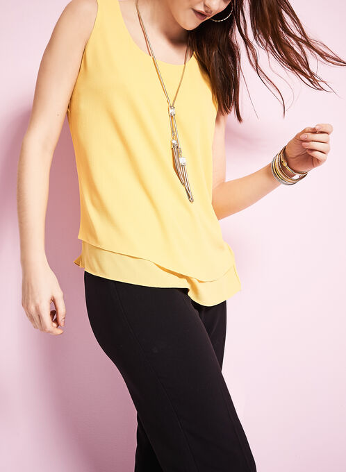 Sleeveless Chiffon Layered Blouse, Yellow, hi-res