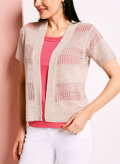 Short Sleeve Pointelle Linen Cardigan, Grey, hi-res