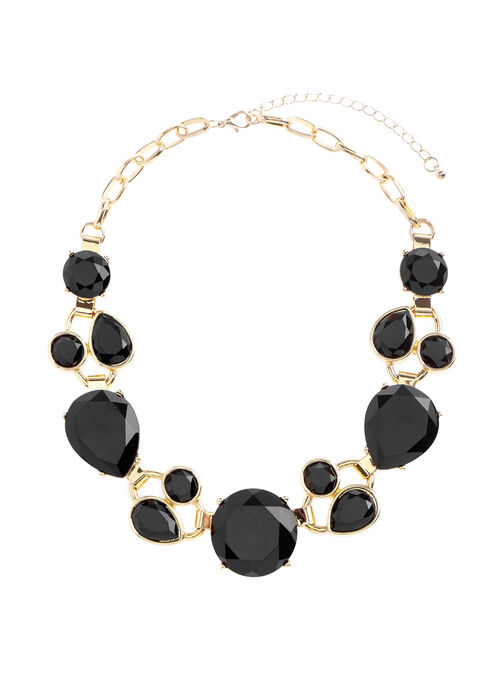 Faceted Stone Chain Necklace , Black, hi-res