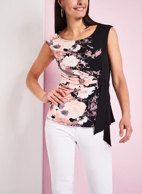 Floral Print Tie Detail Top, Black, hi-res