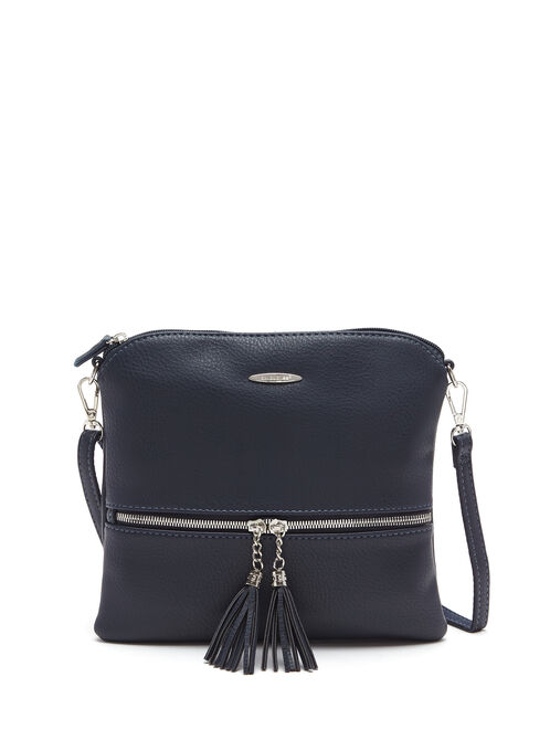 Double Tassel Detail Crossbody Bag, Blue, hi-res