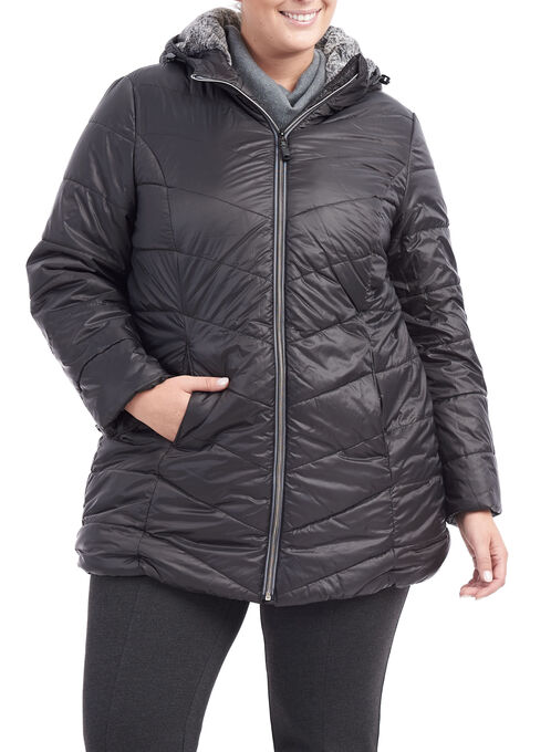 Novelti Quilted Hooded Coat, Black, hi-res
