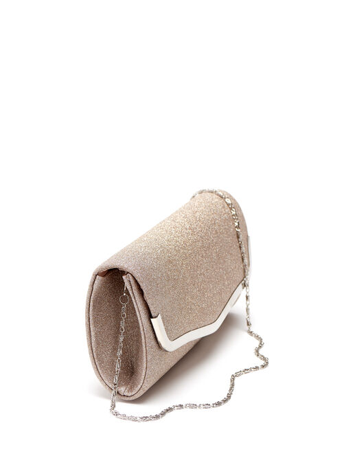Glitter Metallic Trim Clutch, Gold, hi-res