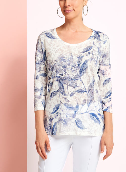 3/4 Sleeve Floral Print Top, Blue, hi-res