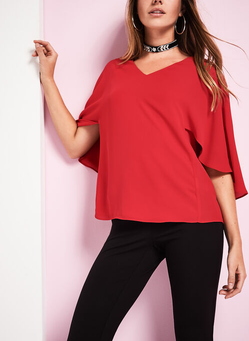 Short Sleeve Capelet Blouse, Red, hi-res
