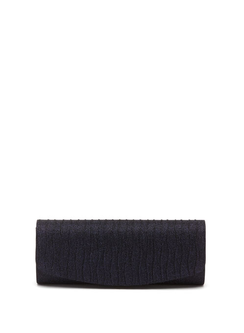 Glitter Wave Pleated Clutch, Blue, hi-res