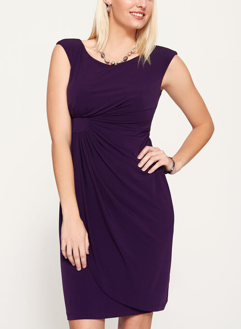 Faux Wrap Sleeveless Jersey Dress, Purple, hi-res