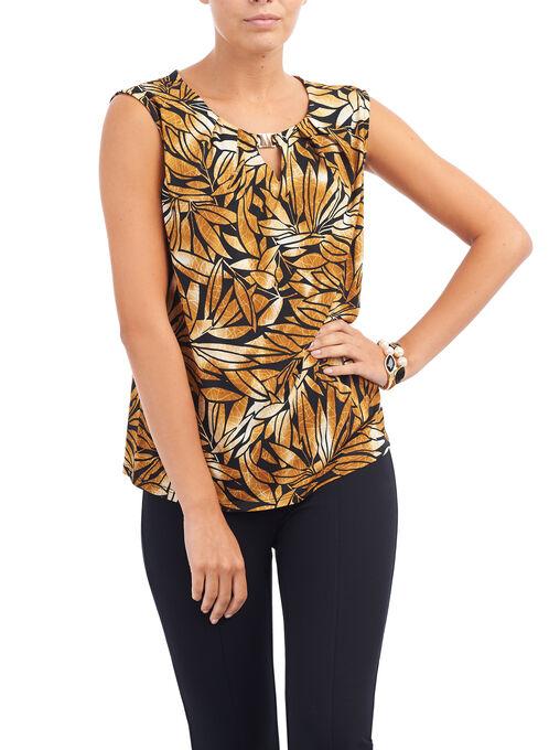 Marigold Leaf Print Top, Yellow, hi-res
