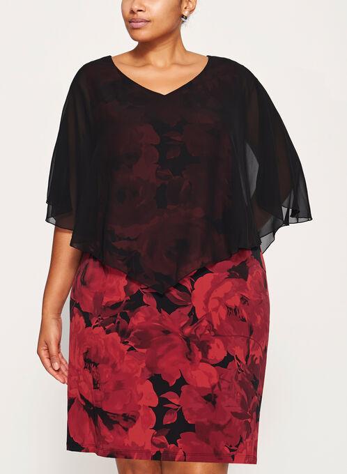 Floral Print Poncho Dress, Red, hi-res