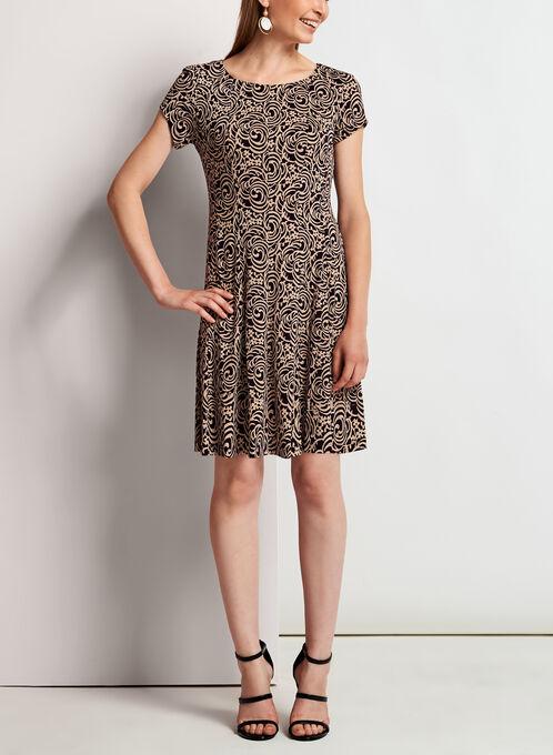 Cap Sleeve Fit & Flare Jersey Dress, Purple, hi-res