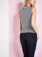 Sleeveless Chain Print Top, Blue, hi-res