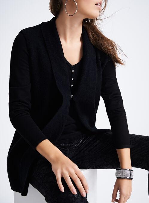 Sleeveless Knit Bouclé Cardigan, Black, hi-res