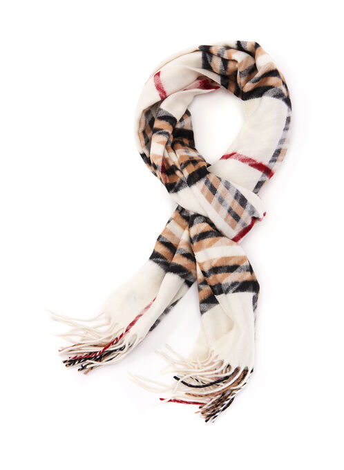 Plaid Print Fringe Scarf, Off White, hi-res