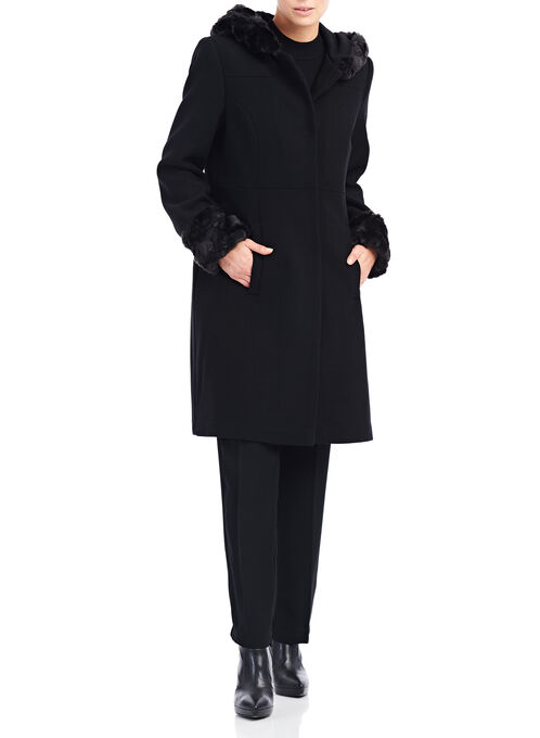 Novelti Wool & Faux Fur Coat , Black, hi-res