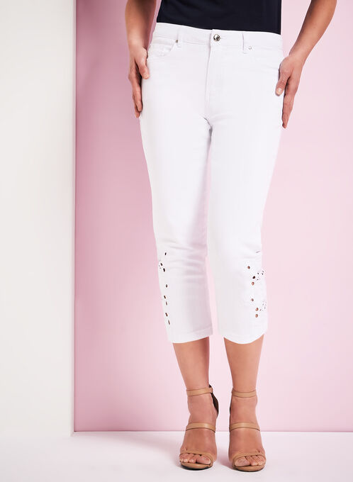 Simon Chang Crochet Denim Capris, White, hi-res