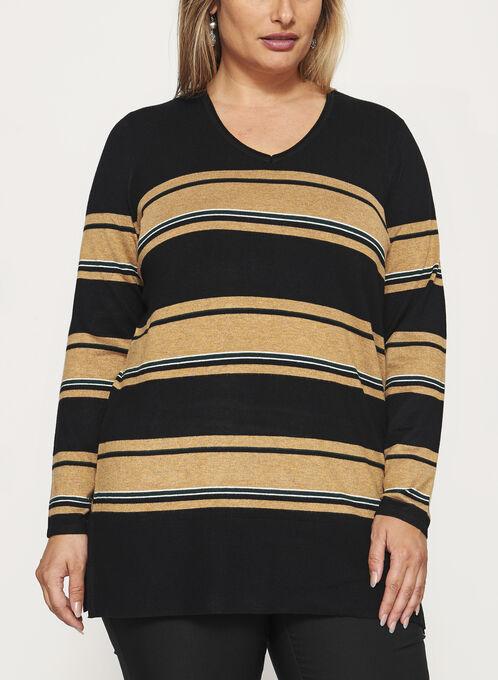 Stripe Print Scoop Neck Sweater, Black, hi-res