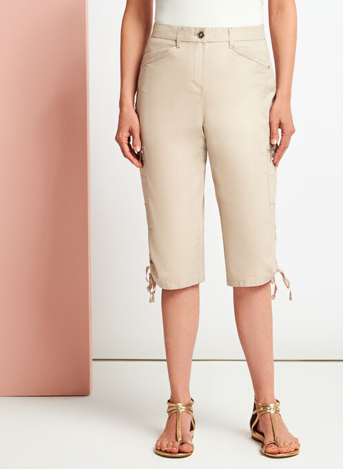 Modern Fit Straight Leg Cargo Capris, Grey, hi-res