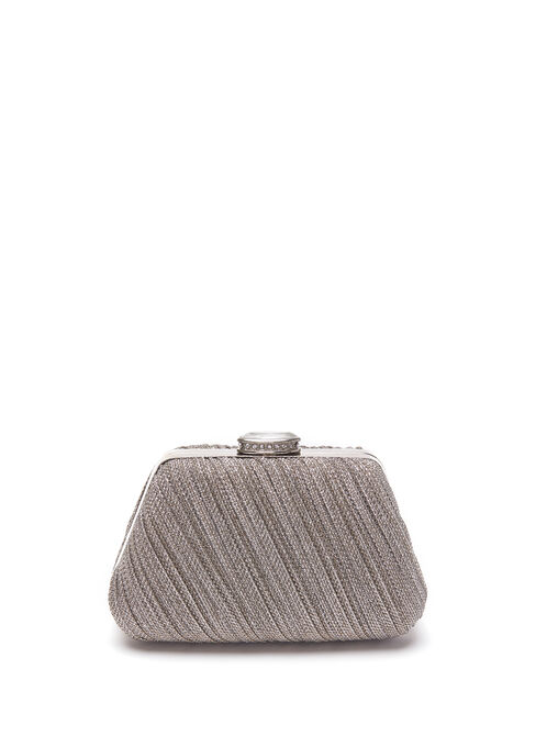 Crystal Metallic Clutch, Silver, hi-res