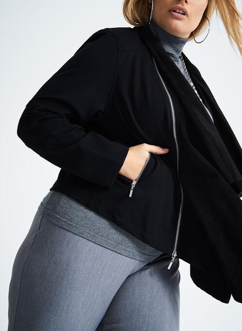 Zip Out Faux Suede Cascade Front Jacket, Black, hi-res