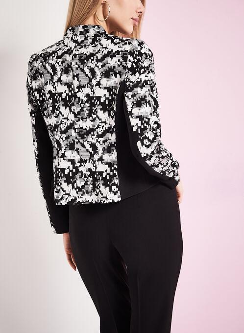 Stud & Abstract Print Jacket, Black, hi-res