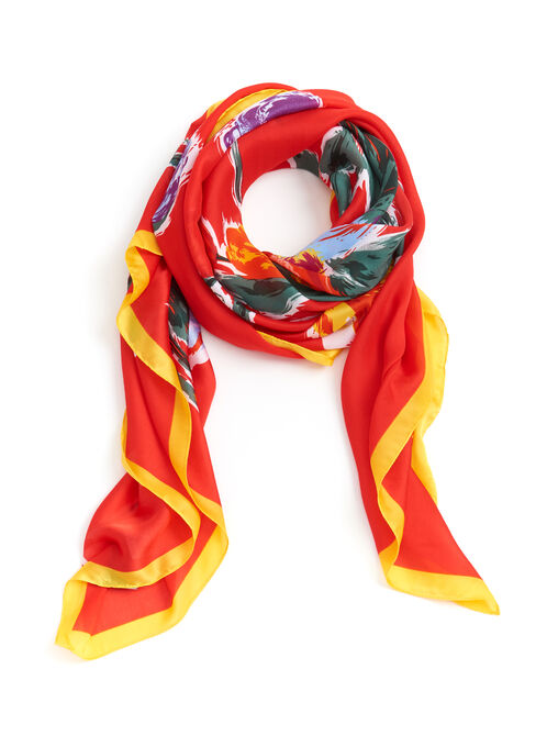 Tulip Print Square Scarf , Red, hi-res