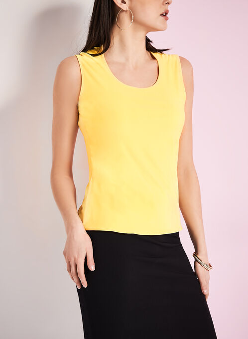 Sleeveless Knit Tank Top, Yellow, hi-res
