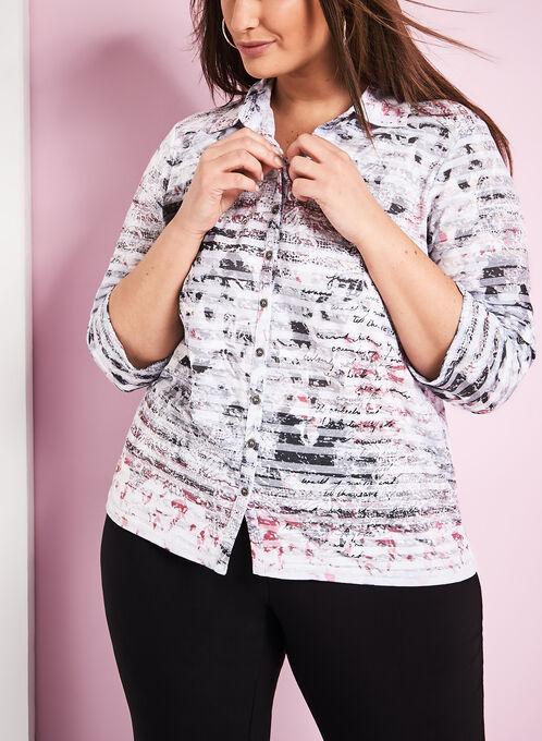 Floral Print Burnout Shirt, Red, hi-res