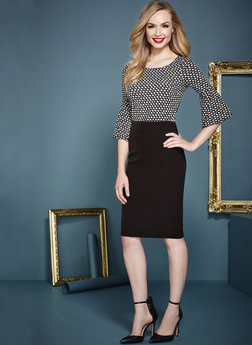 Dot Print 3/4 Bell Sleeve Top , Black, hi-res