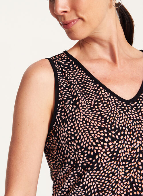 Leaf Print Sleeveless Jersey Top, Black, hi-res