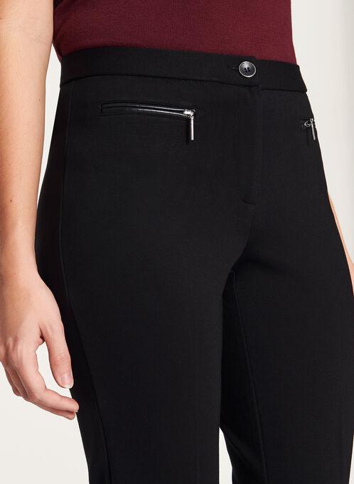 Pantalon jambes droites et détail cuir aux poches, Noir, hi-res