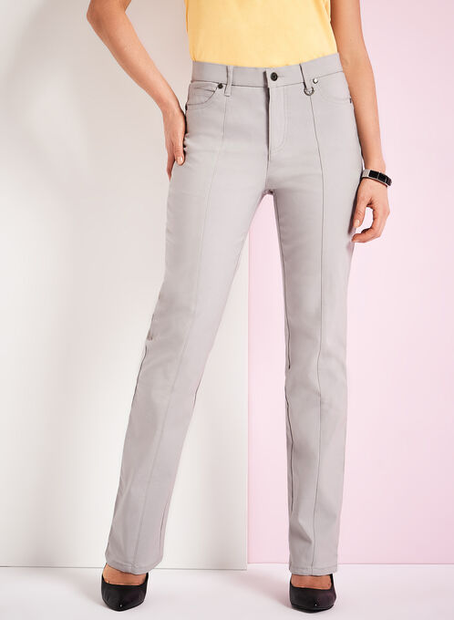 Simon Chang Straight Leg Pants, Silver, hi-res