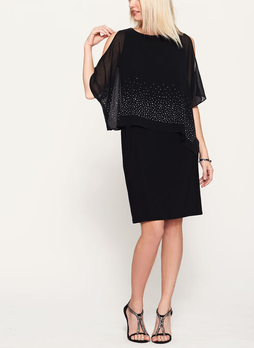 Cold Shoulder Poncho Dress, Black, hi-res