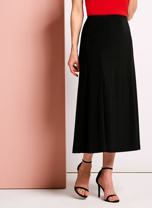 Pull-On Gored Maxi Skirt, Black, hi-res