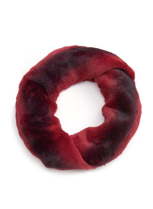 Faux Chinchilla Fur Loop Scarf, Red, hi-res