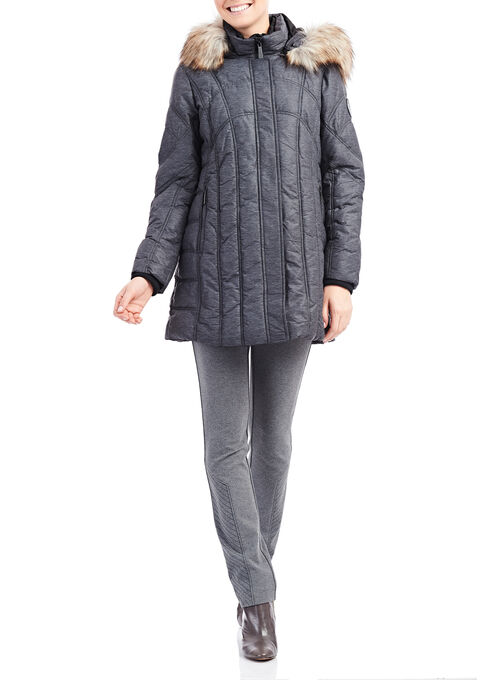 Chillax Faux Fur Polyfill Coat, Grey, hi-res