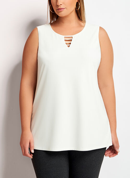Sleeveless Lace Effect Top, Off White, hi-res