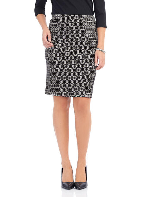 Geo Print Knit Knee-Length Skirt , Black, hi-res