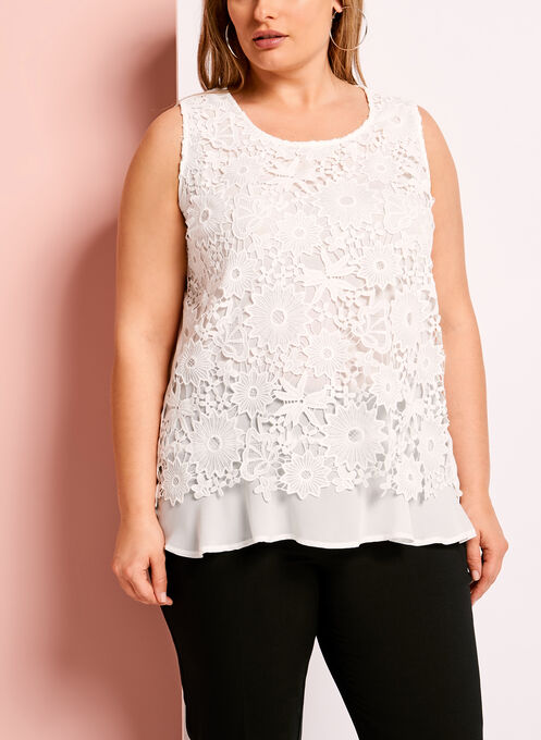 Lace & Chiffon Sleeveless Blouse, Off White, hi-res