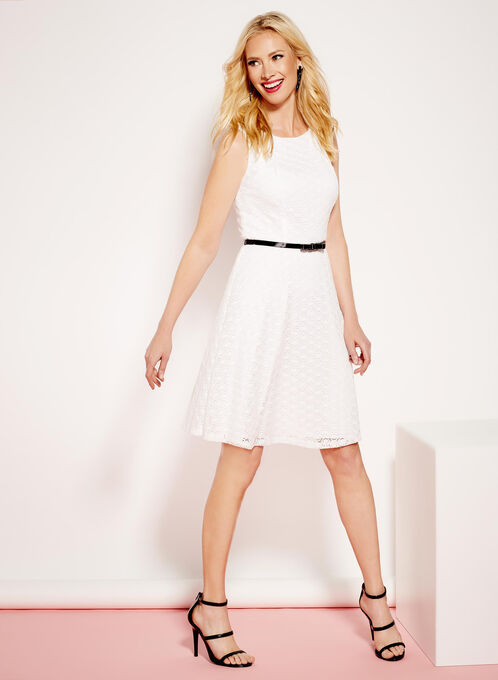 Lace Fit & Flare Dress, White, hi-res