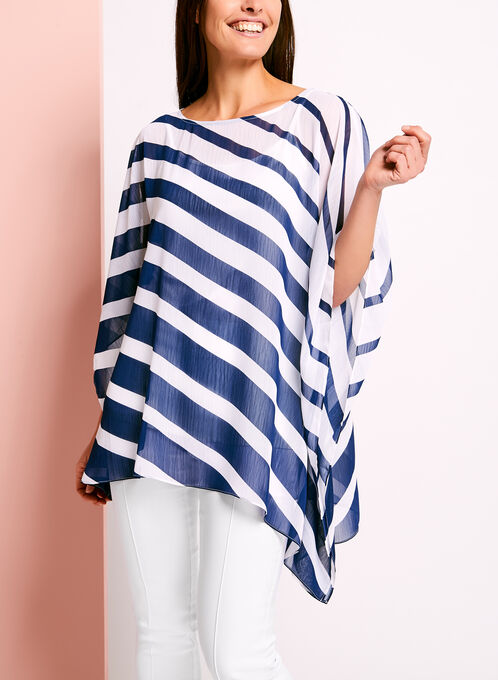 Asymmetric Stripe Print Poncho Blouse, Blue, hi-res