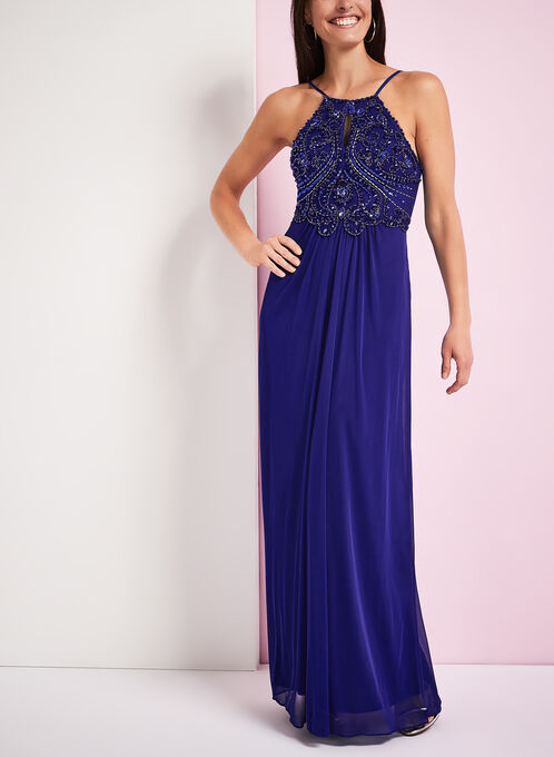 Embellished Bodice Halter Neck Gown, Blue, hi-res