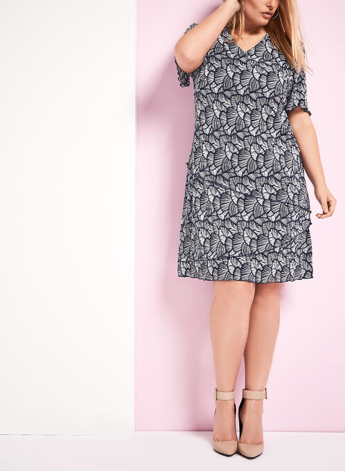 Tiered Plissé Print Dress, Blue, hi-res