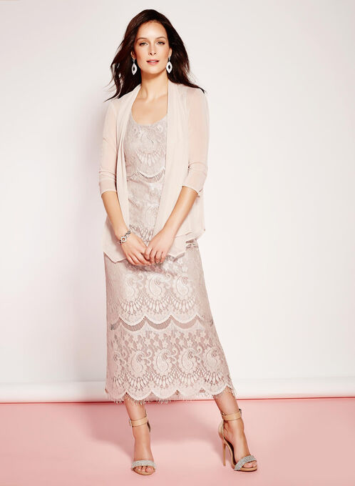 Lace Satin Gown with Mesh Bolero, Off White, hi-res