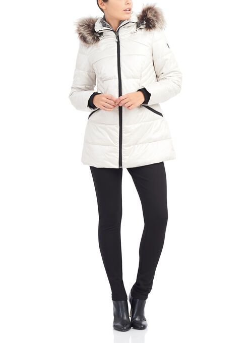 Novelti Quilted Polyfill Jacket , Off White, hi-res