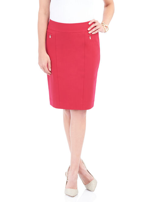 Zipper Trim Pencil Skirt , Red, hi-res