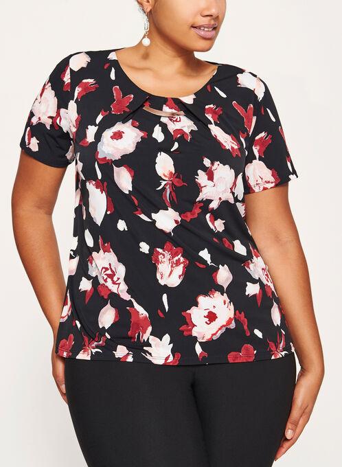 Metallic Detail Floral Print Jersey Top, Black, hi-res
