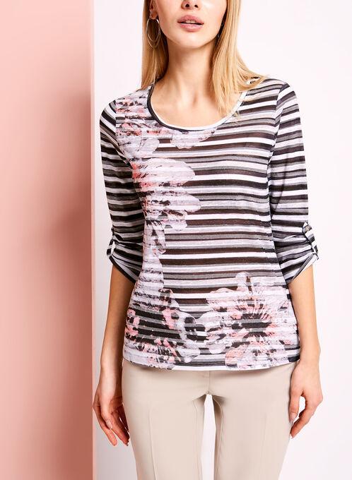 3/4 Sleeve Floral & Stripe Print Top, Red, hi-res